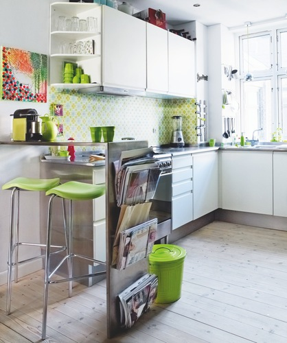 This Small But Lovely Kitchen With Its Bright Lime Green Accents And Beautiful Decor