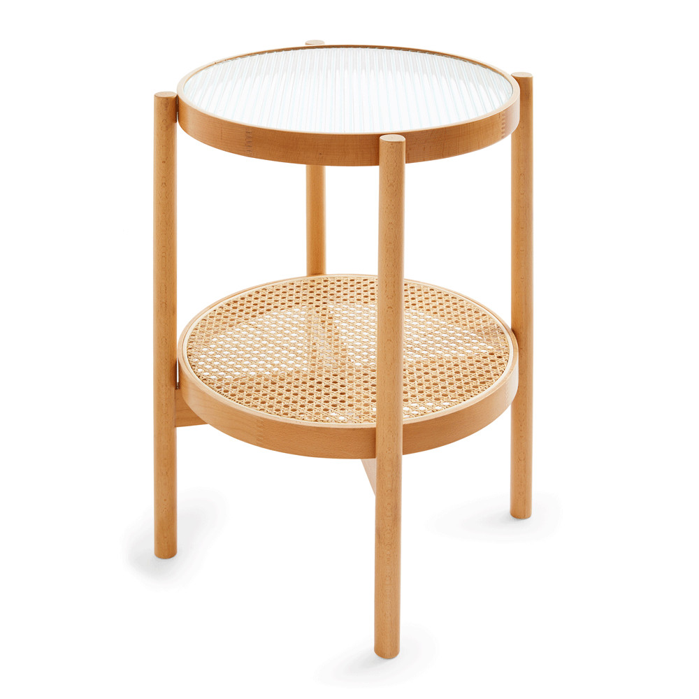 table d'appoint rotin et cannage
